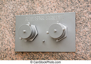 Auto Sprinkler standpipe on marble wall - Connectors to...
