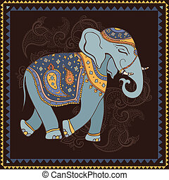 Elephant. Indian style. - Hand Drawn Vector illustration....