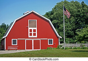 Red Barn - Bright red barn with an American flag.