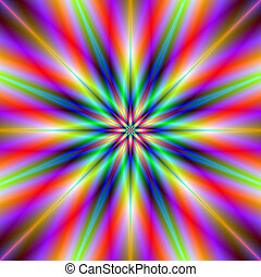 Rainbow Star - A digital abstract fractal image with a multi...