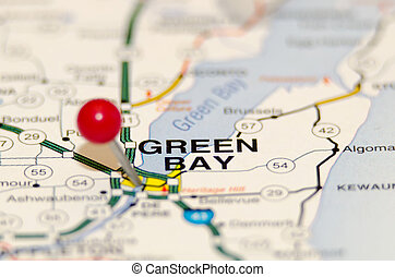 green bay city pin on the map - green bay pin on the map