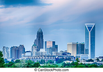 looking at charlotte the queen city financial district from...