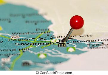 savannah ga pin on the map