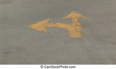 Left Turn and Straight Arrow Sign