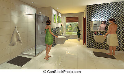Modern Bathroom with mosaic wall