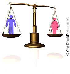 homem, mulher, igualdade, escala