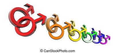 man-man symbols rainbow - a row of rainbow colored men...