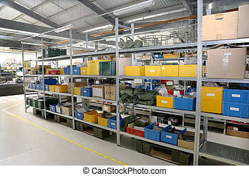 Modern factory warehouse on mechanical modern plant, colorful pl