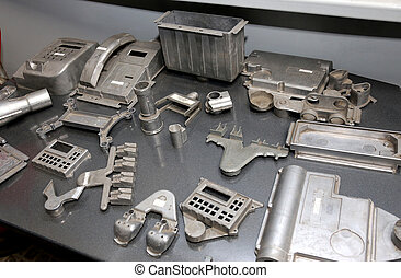 Warehouse metal workpieces and equipment obsolete mechanical...