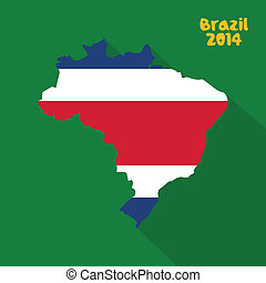 Costa Rica - Abstract Costa Rica flag on abstract Brazil...