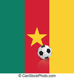 Cameroon - abstract Cameroon flag with a soccer ball