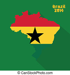 Ghana - Abstract Ghana flag on abstract Brazil map