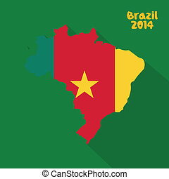 Cameroon - abstract Cameroon flag on abstract Brazil flag