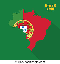 Portugal - abstract Portugal flag on abstract Brazil map