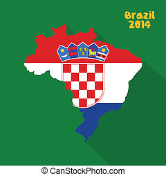 Croatia - abstract Croatia flag on abstract Brazil map