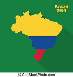 Colombia - abstract Colombia flag on abstract Brazil map