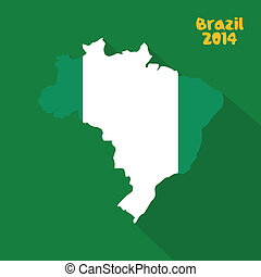 Nigeria - abstract Nigeria flag on abstract Brazil map