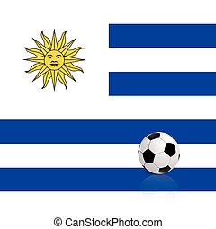 Uruguay - Abstract Uruguay flag with a soccer ball