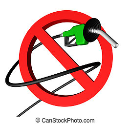 no gas pump 1 - gas pump nozzle with hose rolled up around a...