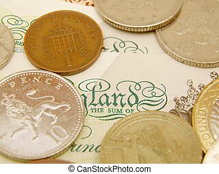 British Sterling pound currency banknotes and coins -...