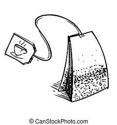 thé, sac, étiquette