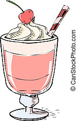 Creamy milk shake with cherry and foam. Hand drawing sketch...
