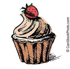 Creamy cup cake with delicious berry. Hand drawing sketch...