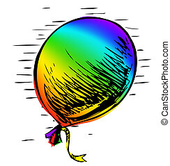 Party balloon with ribbon. Hand drawing sketch vector...