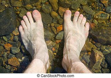 bare feet on shoal of lake - Bare feet on shoal of pure lake