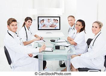 conferencia, Asistir,  vídeo, medicos