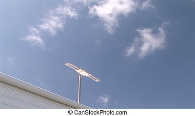 Antenna Above RV Trailer - TV antenna raised from the roof...