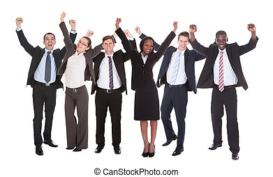 Successful Businesspeople With Arms Raised - Full length...
