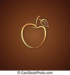 Apple logo over brown