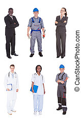 Multiethnic People With Diverse Occupations - Collage of...