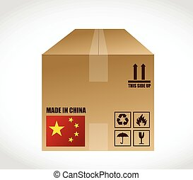 made in china shipping box. illustration