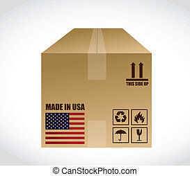 made in us shipping box. illustration