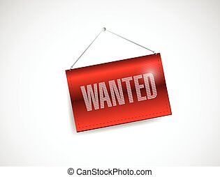 wanted red hanging sign illustration design