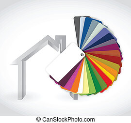 home and color guide icon illustration