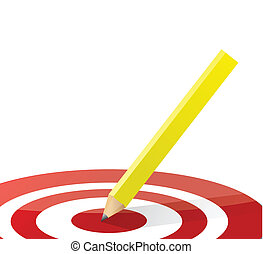 pencil in the middle of a target