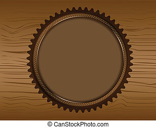 Wooden vector background with wooden badge for text content