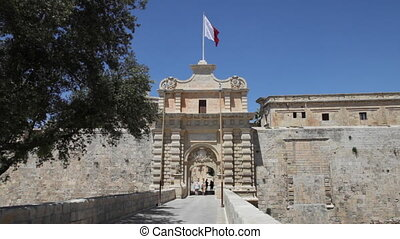 Mdina, Malta, Europe - City Gate in Mdina - Former Capital...