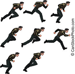 Running Man Sprite - Vector illustration of man running...