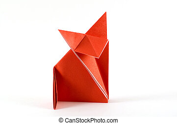 fox folding origami - origami folding paper in the shape of...