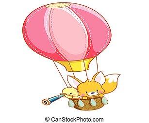 cartoon chicks and cute squirrel air balloon ride
