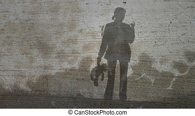 Grunge Silhouette of Girl with Tedd - Grunge or vintage...