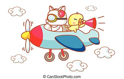 cartoon funny cats and chicks on a plane