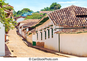 Historic Colonial Street - Colonial street with with white...