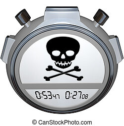 Skull Crossbones Stopwatch Timer Death Clock - Skull and...