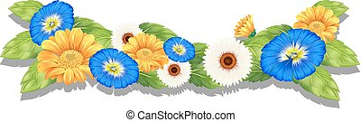Flowering plant with colourful flowers - Illustration of the...