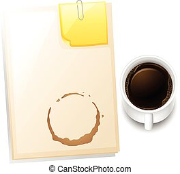 A topview of a table with a coffee stain - Illustration of a...